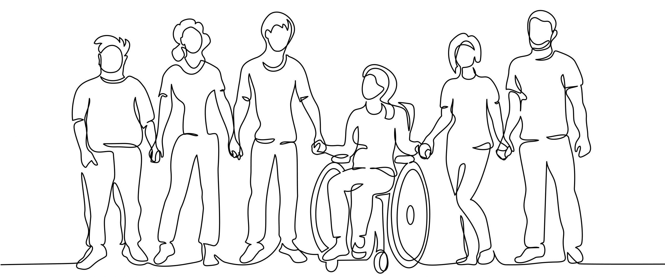 Line drawing, black ink on white background, of six people of different genders, sizes and abilities.