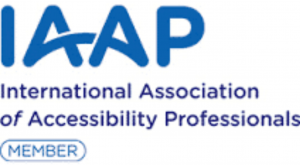 IAAP in sky blue with an arch connecting the A's